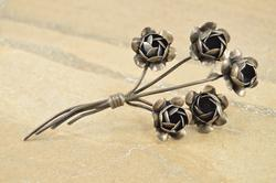 Vintage Style Articulated 3D Flower Bouquet Pin / Brooch Silver