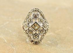 Curvy Marcasite Encrusted Heart Design Ring Size 7.75 Silver