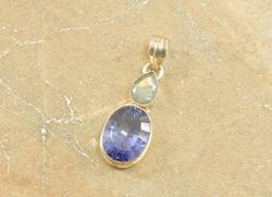 Faceted Blue Purple Oval Labradorite Pear Bezel Pendant Silver
