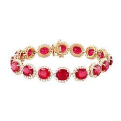 Ruby and Diamond Bracelet, 14kt Gold