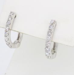 14K White Gold Huggie Style Diamond Earrings