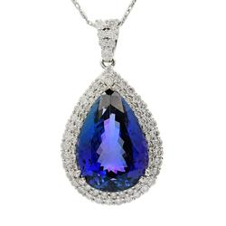 Radiant 25.17ctw Tanzanite & Diamond Necklace