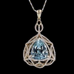 Unique 10.39ctw. Aquamarine and Diamond Necklace