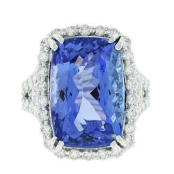 Gleaming 15.31 ctw. Tanzanite Ring in Platinum