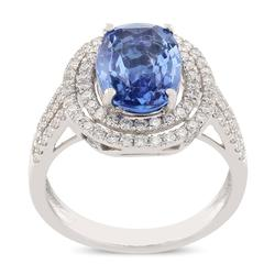Oval shaped Double Halo Sapphire Ring