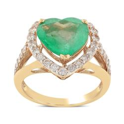 Huge Heart Shaped Emerald and Diamond Ring