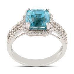 Breathtaking Blue Zircon and Diamond Ring
