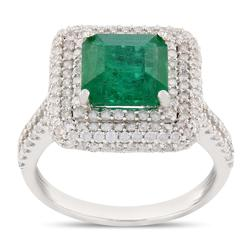 18kt White Gold Emerald and Diamond Cocktail Ring