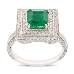 Eye-catching 1.94ctw.  Emerald & Diamond Ring
