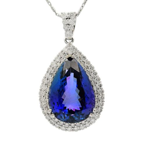 Radiant 25.17ctw Tanzanite & Diamond Necklace