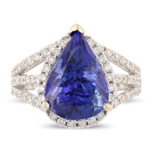 Pear Tanzanite Ring with Diamond Halo, 18KT