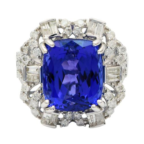 GIA Certified, Tanzanite and Diamond Ring