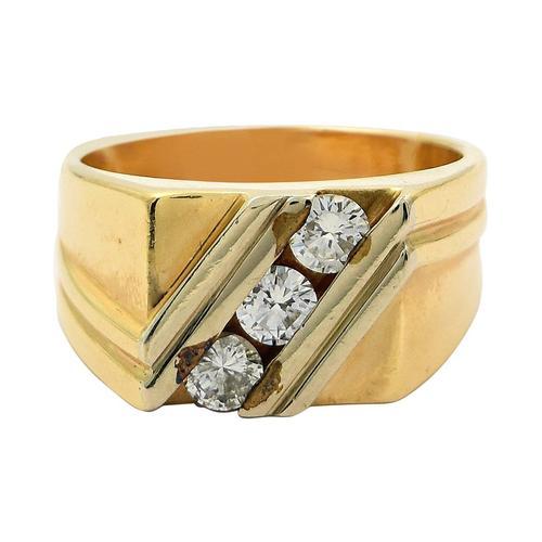 Three-Stone Gents Diamond Ring in 14KT Gold