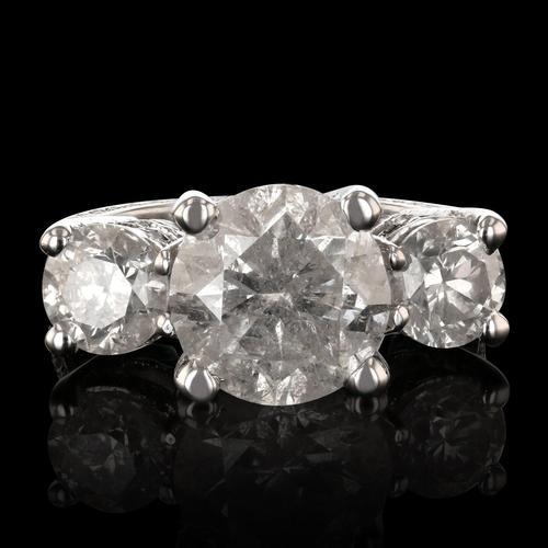 HUGE Three-Stone Brilliant Diamond Unity Ring