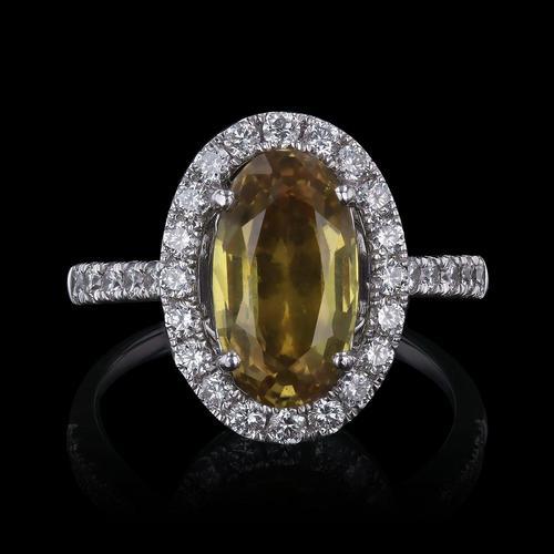 Oval Yellow Sapphire & Diamond Halo Engagement Ring