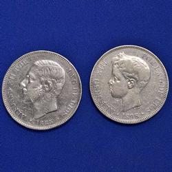 1885 and 1898  Silver 5 Pesetas Spain