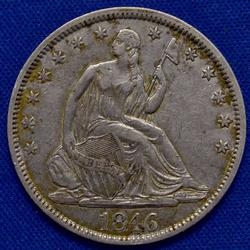 1846 Tall Date Seated Half Almost Near Unc