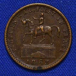 Patriotic G Washington 1863 Civil War Token Near Unc