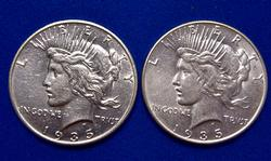 1935 and 1935 S Near Unc Peace Dollars