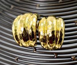 Reflective Textured 14K  Omega Back Earrings