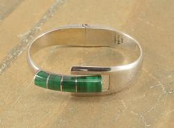 Malachite Inlay Asymmetrical Hinged Bangle Bracelet Silver