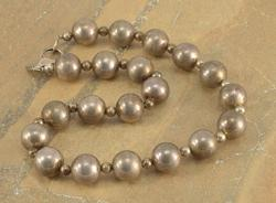 Round Large Small Pattern Ball Bead Necklace Silver