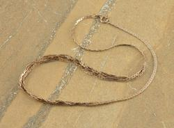 Pressed Anchor Link Braided Center Necklace Silver