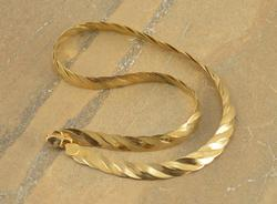 Gold Toned Twisted Pressed Herringbone Link Necklace Silver