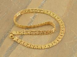 Gold Toned Pressed Byzantine Link Necklace Silver