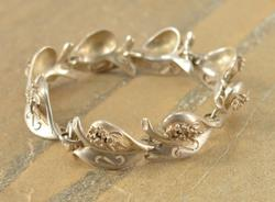 Artisan Style Floral Scroll Cutout Design Leaf Link Bracelet Silver
