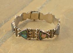 Abalone Seashell Triangle Inlay Dot Detail Bracelet Silver