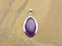 Purple Stone Marquise Bezel Set Pendant Silver