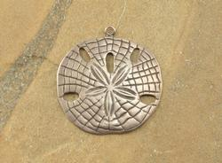 Fancy Sand Dollar Stamped Textured Pendant Silver