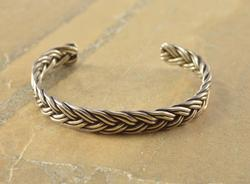 Overlapping Rope Woven Cuff Bracelet Silver