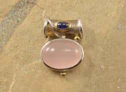 Two Tone Oval Rose Quartz Amethyst Slide Pendant Silver