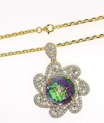 Sterling Silver Topaz & Rainbow Quartz Necklace