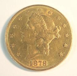 1878-S US Gold $20 Liberty Circulated