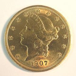 1907 US Gold $20 Liberty Circulated