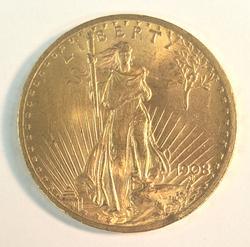 1908 No Motto US Gold $20 St Gaudens Circulated