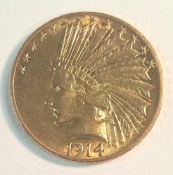 1914 US Gold $10 Indian Circulated