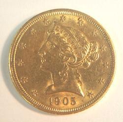 1905 US Gold $5 Liberty Circulated