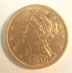 1856 US Gold $5 Liberty Circulated