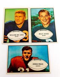 3 Bowman Gum 1953 Football Cards