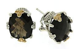 Sterling Silver & 14kt Smoky Quartz Earrings
