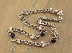 chain w/ black stone Necklace Silver