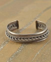 rope design cuff Bracelet Silver