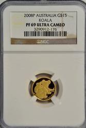 Superb 2008P Australia Proof $15 Gold Koala. NGC PF69UC