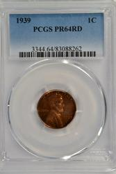 Full Red Proof 1939 Lincoln Cent. PCGS PR64RD
