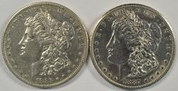 2 Flashy better date 'S' Mint Morgans from 1885 & 1887