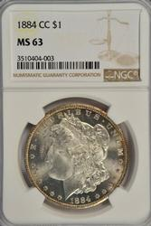 Very Choice BU 1884-CC Morgan Silver Dollar. NGC MS63